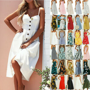Womens-Holiday-Strappy-Button-Pocket-Ladies-Summer-Beach-Midi-Swing-Sundress