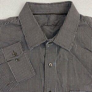 Tasso-Elba-Dress-Shirt-Mens-17-L-Brown-White-Long-Sleeve-100-Cotton-Check-Shirt
