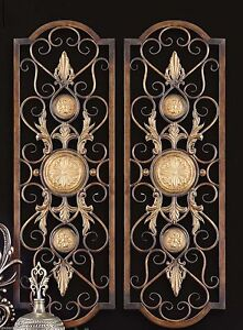 Details About Set 2 Scroll Wall Decor Wrought Iron Metal Grille Panel Tuscan Art Plaque Grill