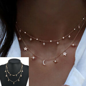 Fashion-Women-Multilayer-Choker-Necklace-Star-Moon-Chain-Gold-Pendant-Jewelry-TR
