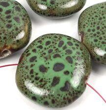 4 Large Green Black Raku Porcelain Lentil Pendant Beads 30x27mm