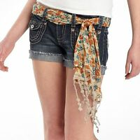 Truce Denim Belted Patch Pocket Phoenix Color Shorts Size 9
