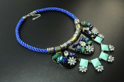 CL17 ELEGANT ROYAL BLUE ROPE AZTEC FLORAL INSPIRED STATEMENT NECKLACE TR