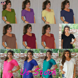 Plus-Size-Womens-V-Neck-Loose-Short-Sleeve-Tunic-Top-A-Line-T-Shirt-Blouse-S-5XL