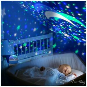 Details About Kids Baby Nursery Led Rotating Blue Projector Starry Moon Night Light