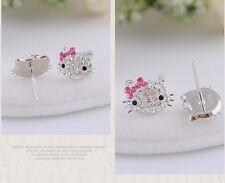 Sterling Silver Swarovski Elements Crystal Hello Kitty Bowl Stud Earrings Gift