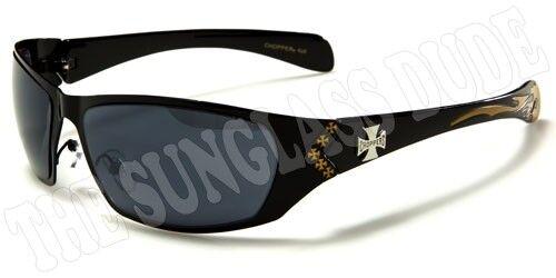Sunglasses New Metal Sport Shades Wraps Chopper Biker Men Women Black Gold CH88C