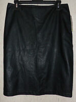 Womens Valerie Stevens Lined Black Tooled Pleather Skirt Size 16