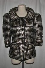 St John Couture Blk & Metallic Gold Textured Tweed Knit Fitted Blazer Jkt 2 NWOT