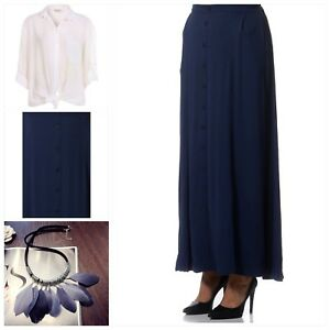 aa96791adb EVANS - Women's Long Button Maxi Skirt with Pockets Navy **NEW Plus ...