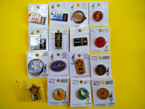 16 Olympic Pins Atlanta 1996 Welcome Torch Star Days 200 300 400 Rings Card NEW