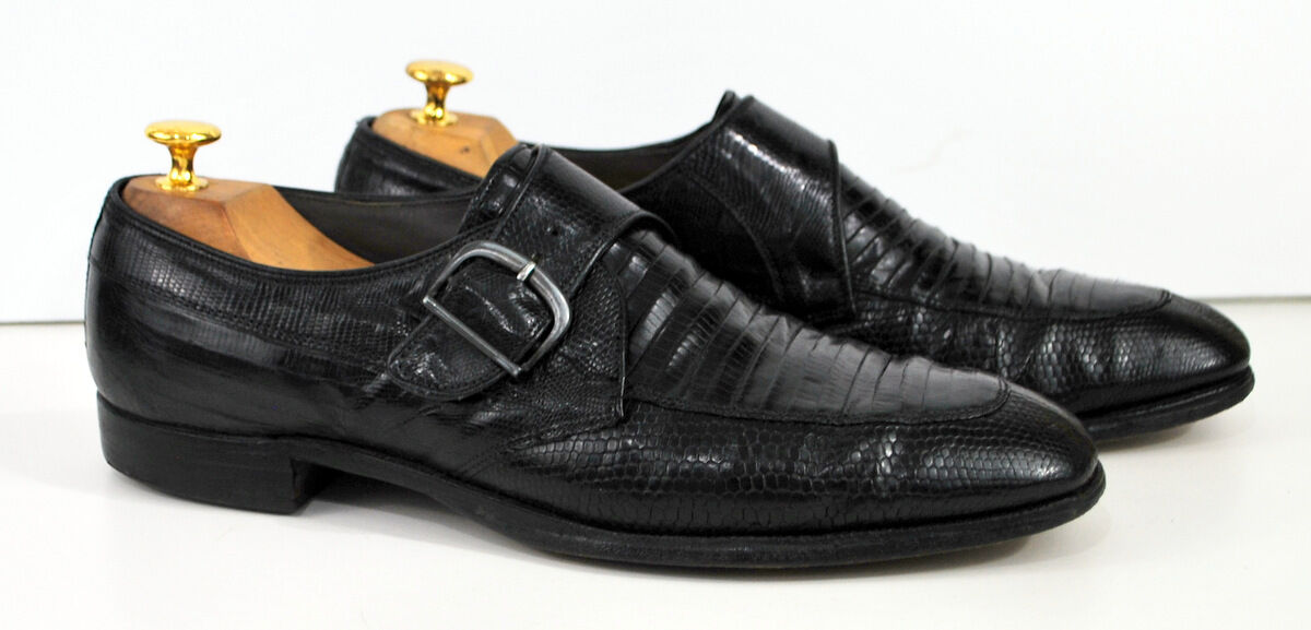 Nettleton Black Monk Strap Lizard 11 A B  Narrow Mans Dress shoes USA Made