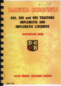 David Brown 850//950//880//990 Implematic Tractor Manual