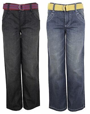 Boys Faded Back Elasticated Waist Cotton Straight Leg Jeans Plus Belt 12mths-7yr