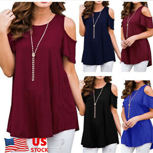 Plus-Size-Womens-Summer-Cold-Off-Shoulder-Top-Short-Sleeve-Blouse-Casual-T-Shirt