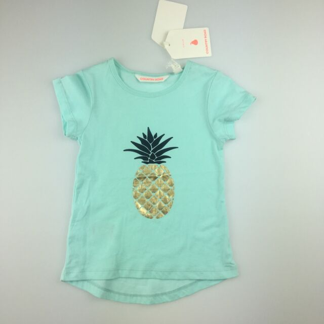 57477392d062 Girls Size 3 Country Road 100 Cotton Blue T-shirt Gold Pineapple for ...