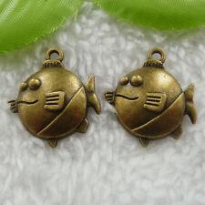 Free Ship 60 pcs bronze plated fish charms 24x21mm #738