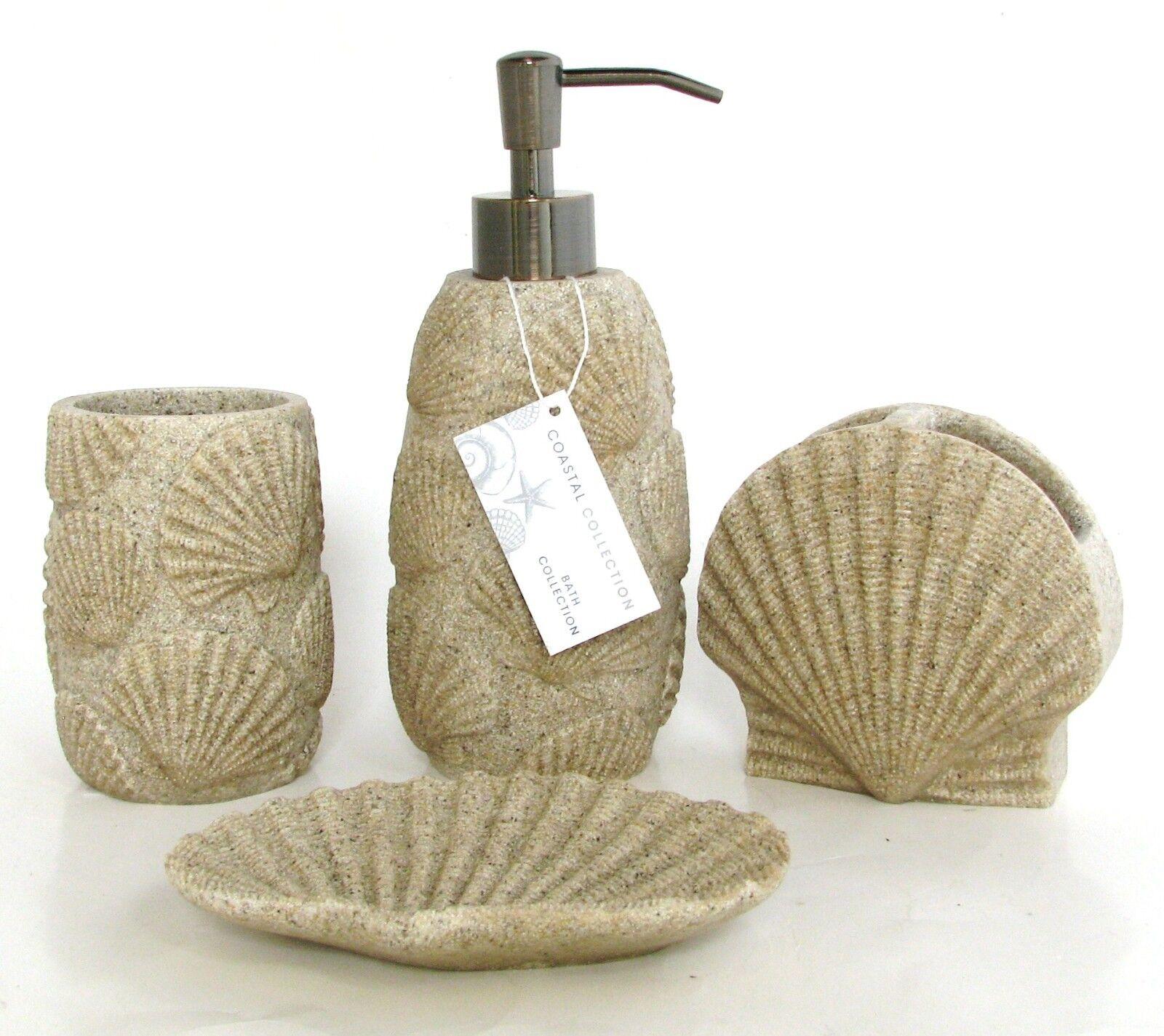 COASTAL COLLECTION 4PC SET SAND BEIGE+CLAM SHELL BEACH SOAP DISPENSER+DISH+2MORE