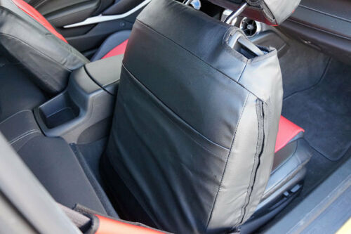 BLACK//BLUE IGGEE S.LEATHER CUSTOM FIT FRONT SEAT COVER CHEVY CAMARO 2016