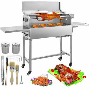 BBQ Charcoal Grill Heat Insulation Lid 25W Motor Roaster Rotisserie Grill