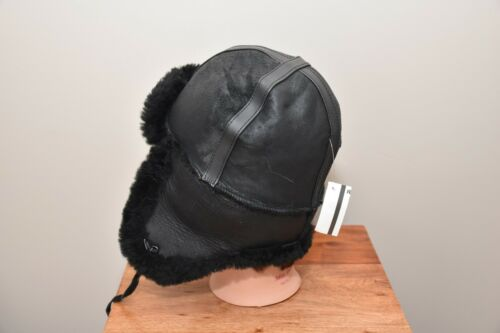 NEW LEATHER YOUTH SHEARLING  BOMBER HAT FOR KIDS WARM AND COZY THICK LINING