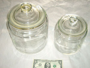 2 lot rare ikea heavy clear glass 8 10 air seal lid cookie candy fruit jars ebay. Black Bedroom Furniture Sets. Home Design Ideas