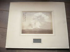 PHOTO ORIGINALE ERUPTION VESUVE 1872 NAPLES ITALIE AVEC ECHANTILLON  DU VOLCAN