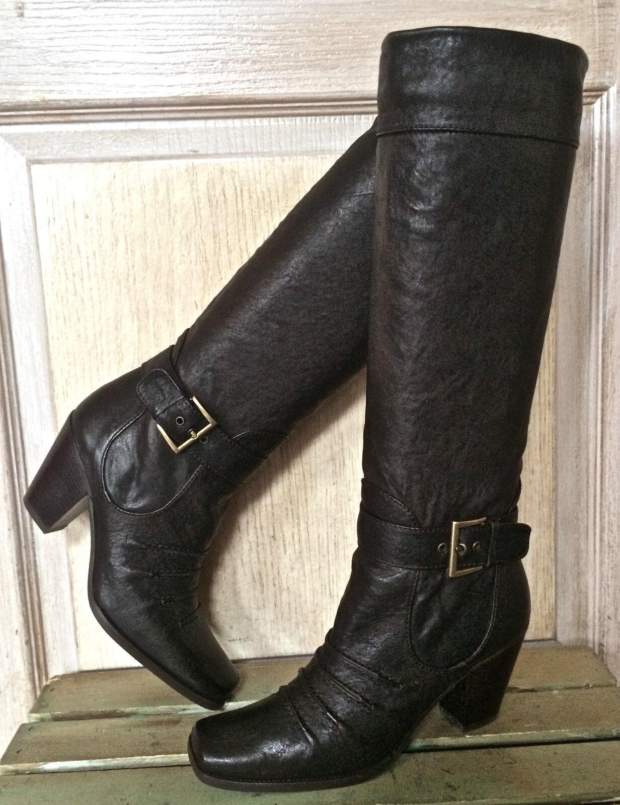 NIB Stuart Weitzman braun leather Swashbuckler Cowboy Moto buckle tall tall tall Stiefel 6.5 7ca1b8