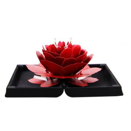 Folding Rotating Rose Ring Box Birthday Valentine/'s Day Jewelry Display Box Gift