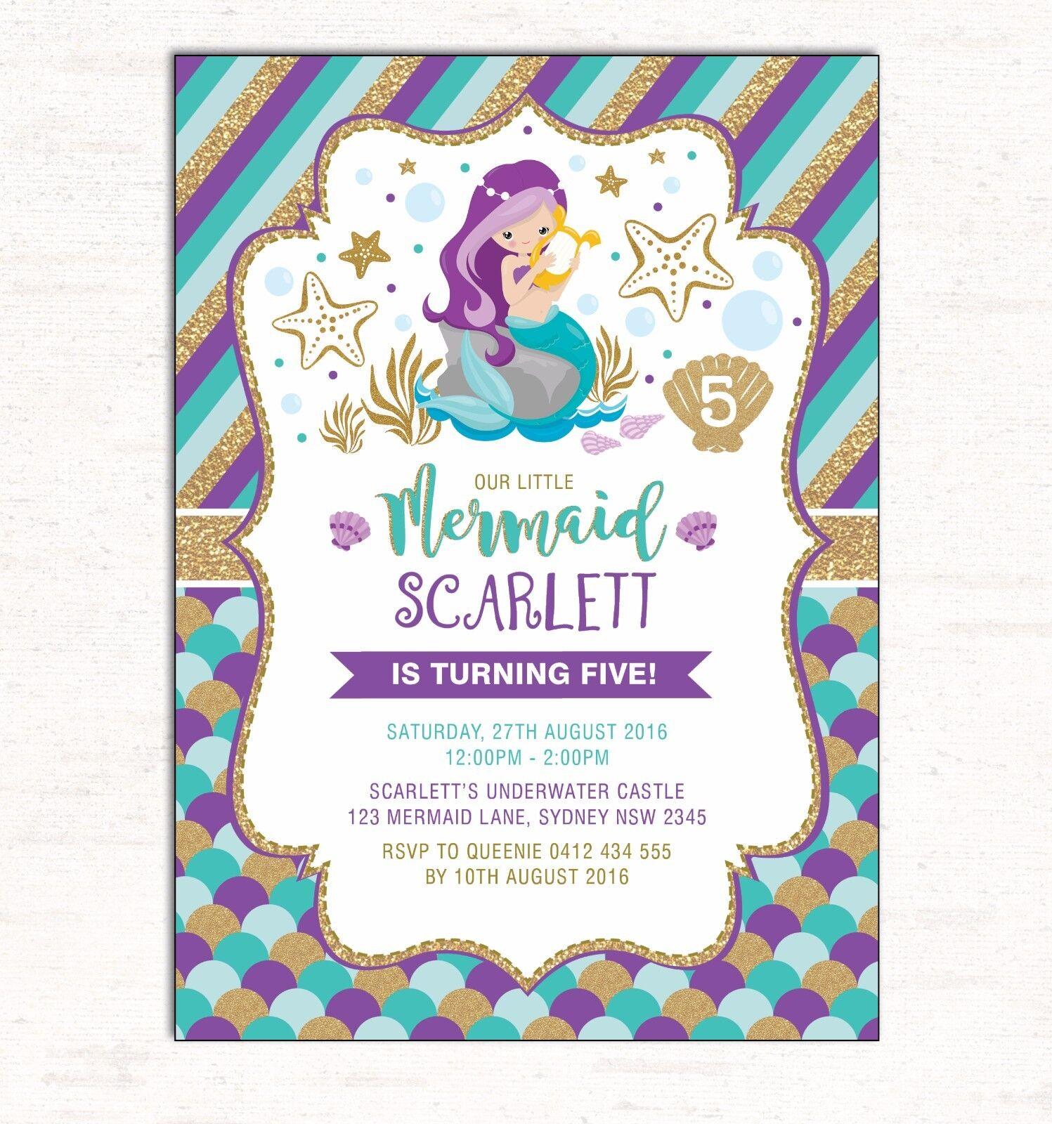 Little Mermaid Invitation First 1st Birthday Invite Pool Party