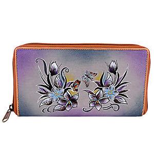 ZINT-Genuine-Leather-Hand-Painted-Women-039-s-Wallet-Floral-Zip-Around-Clutch
