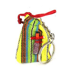 Guatemalan-Worry-Doll-Keyring-Genuine-Handmade-Mayan-Fair-Trade-1-034-doll-on-Bag