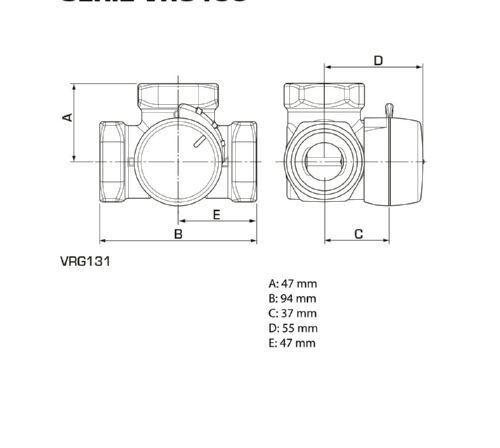 11601200 Kvs 16 ESBE 3-Wegemischer VRG131 IG PN10 DN32