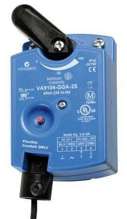 JOHNSON CONTROLS VA9104-GGA-2S Elec Act,35 in.-lb.,Proportional,24VAC