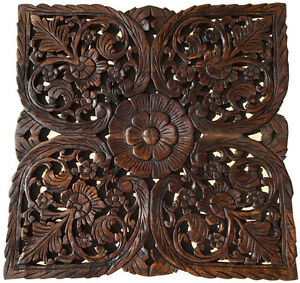 Image Is Loading Asian Carved Wood Wall Decor Plaque Fl