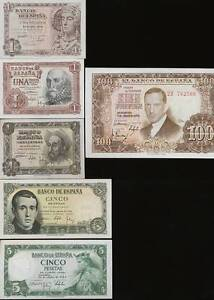 CA-SPAIN-LOT-5-PCS-PESETAS-1948-1953-REPUBLICA-WAR-CIVIL-RARE-SDF-flk