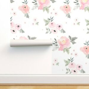 Removable-Water-Activated-Wallpaper-Pastels-Floral-Baby-Girl-Nursery-Home-Decor