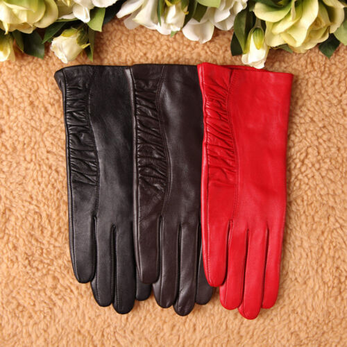 Elegant Women Italian nappa leather gloves w partial ruched decoration