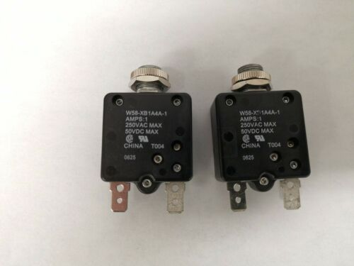 Lot of 2 Tyco W58-XB1A4A-1 Push Reset Thermal Circuit Breaker 1 AMP