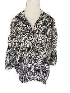 Chicos Zenergy Size 2 Black/white Zip Up Light Weight Jacket