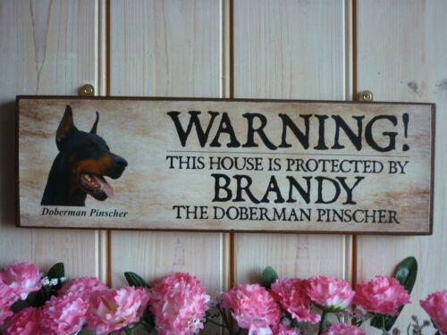 HAND MADE DOBERMAN SIGN YARD SIGN WARNING SIGN BEWARE OF THE DOG SIGN DOG PLAQUE