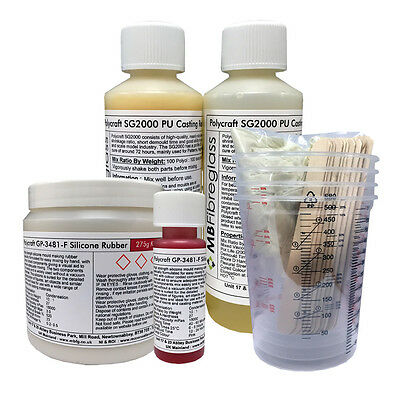 clear MOULDCRAFT GP-3481-F RTV Silicone Mould Making Rubber 275g Kit Shore A27
