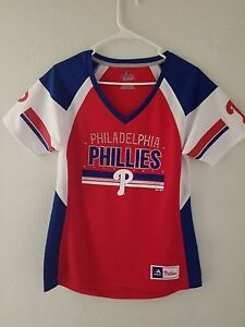 aa01243b6 NEW Majestic MLB Apparel PHILADELPHIA PHILLIES V-Neck Jersey Womens ...