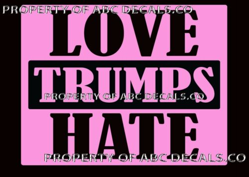VRS Political Anti Donald Trump Loves Hate LGBT Special Needs Heart VINYL Decal