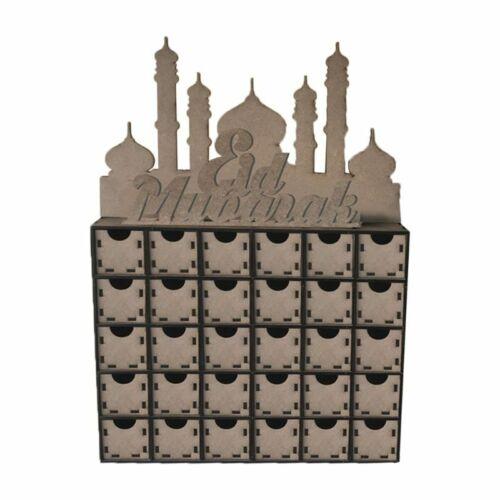 MDF Ramadan Advent Countdown Calendar DIY Drawer 30 Day Eid Mubarak Muslim Decor
