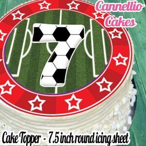 Groovy Precut Edible Icing Sheet 7 5 Inch Football Red 7Th Birthday Cake Birthday Cards Printable Giouspongecafe Filternl