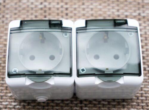 Doppel Steckdose  AUFPUTZ  250V 16A CE IP44 Deckel hoch qualität Design Klappe