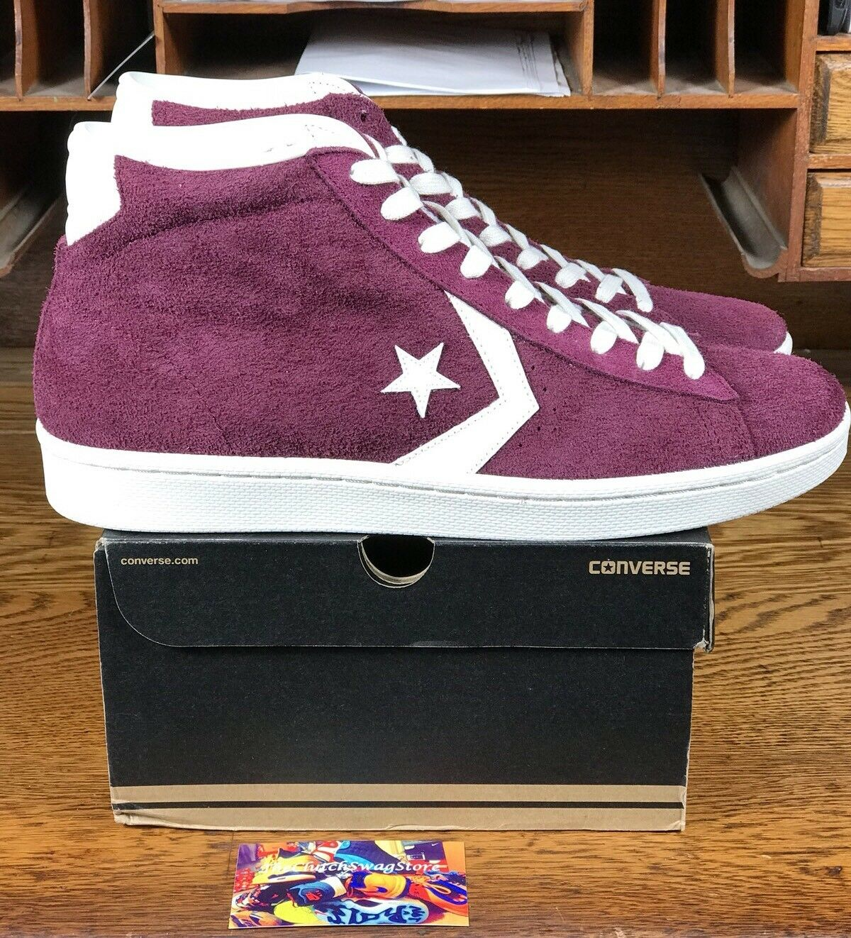 CONVERSE PRO LEATHER MID (157691C) Maroon/Off Blanc Chaussures Multiple Homme Taille