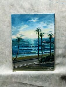 Art12-034-9-034-oil-painting-California-beach-sunset-Seascape-landscape-art-for-you