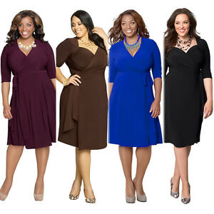 Details about Women Plus Size Deep V Neck Wrap Ruched Waisted Evening Party  Bodycon Mini Dress